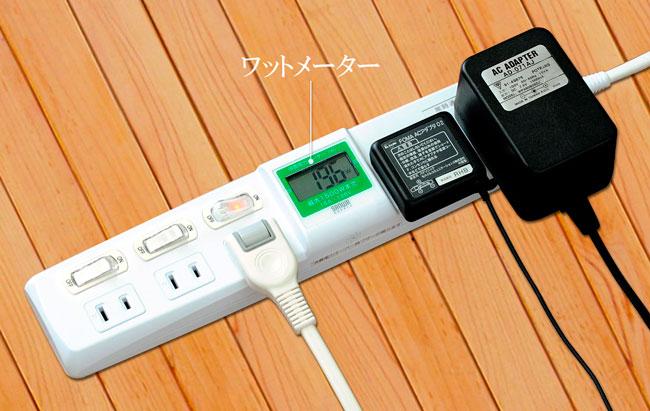 消費電力計の付いた電源タップ
