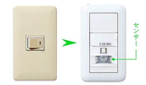 片切スイッチから人感センサースイッチへ交換