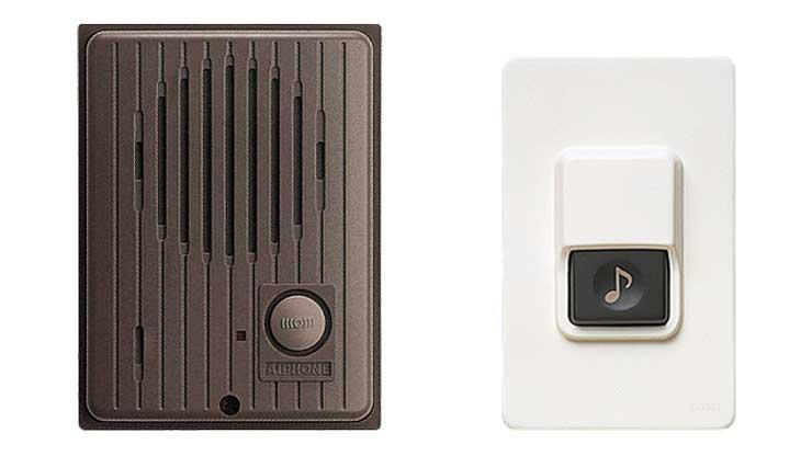 玄関子機とチャイム用の押しボタンスイッチ